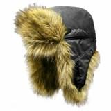 Шапка ушанка Kosadaka Arctic плащевка чёрная/ мех волк
