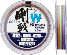 Плетеная леска Gosen 4PE W Braid Multi #0.6 (9Lb/4кг/150м)