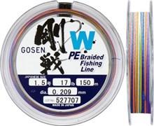 Плетеная леска Gosen 4PE W Braid Multi #1.5 (17Lb/7,8кг/150м)