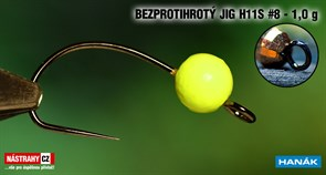 Джиг-головка Вольфрамовая Hanak Крючок Безбородый H11S №8 Fluo/Black 1,0гр 5шт/уп