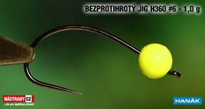 Джиг-головка Вольфрамовая Hanak Крючок Безбородый H360 №6 Fluo/Black 1,0гр 5шт/уп