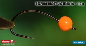 Джиг-головка Вольфрамовая Hanak Крючок Безбородый H360 №6 Orange/Black 1,0гр 5шт/уп