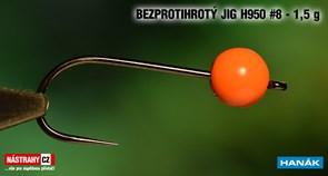Джиг-головка Вольфрамовая Hanak Крючок Безбородый H950 №8 Orange/Black 1,5гр 5шт/уп