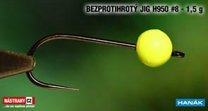 Джиг-головка Вольфрамовая Hanak Крючок Безбородый H950 №8 Green/Black 1,5гр 5шт/уп