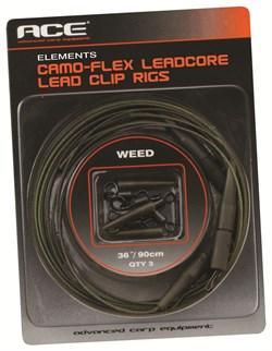 Оснастка с Безопасной Клипсой в Сборе ACE Camo-Flex Lead Clip Rigs Gravel 90см, 3шт/уп, Коричневая - фото 19288