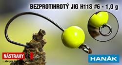 Джиг-головка Вольфрамовая Hanak Крючок Безбородый H11S №6 Fluo/Black 1,0гр 5шт/уп - фото 21499