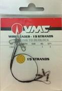 Поводок металический VMC 20см 9кг вертлюг/карабин