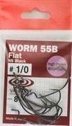 Крючки Офсетные Vanfook Worm 55B Flat №1/0 8шт/уп NS Black