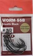 Крючки Офсетные Vanfook Worm 55B №1/0 8шт/уп Stealth Black
