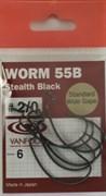 Крючки Офсетные Vanfook Worm 55B №2/0 6шт/уп Stealth Black