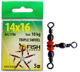 Вертлюжок Fish Season 3 направления Triple Swivel 1706 14x16