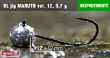 Джиг-головка Maruto Крючок Безбородый №12 Black 0,7гр 5шт/уп