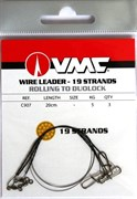 Поводок металический VMC 20см 5кг вертлюг/карабин