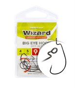 Крючки Wizard Big eye hook Off-set #1/0 4шт/уп
