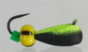 Капля 4 с Петелькой, Чёрная+зеленая, Бисер 1,1гр 3шт