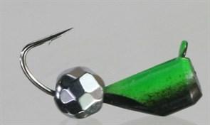 Безнасадка 4 Чёрная+зеленый, Серебряный Граненный Шарик, Камень 1,6гр
