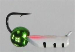 Безнасадка 2 Белая с Латунным Шариком зеленый металлик 0,4гр 3шт