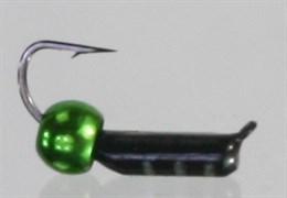 Безнасадка 2 Черная с Латунным Шариком зеленый металлик 0,4гр 3шт