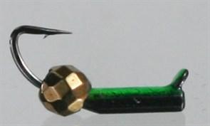 Безнасадка 1,5 Чёрная+зеленая, Медный Граненный Шарик 0,3гр 3шт