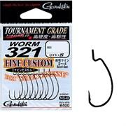Крючки Офсетные Gamakatsu Worm-321 Fine Custom #5 NS Black 8шт/уп
