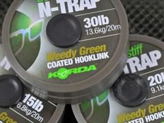 Поводковый материал Korda N-Trap Semi-stiff 15lb Weedy Green