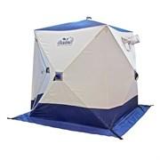 Палатка зимняя куб СЛЕДОПЫТ 2,1х2,1х2,0м, 3-местная ,цв. бело-синий