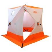 Палатка зимняя куб СЛЕДОПЫТ 2,1х2,1х2,0м, 3-местная ,цв. бело-оранжевая