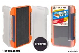 Коробка для приманок German Storage Baits NP2 175x105x35мм Orange