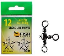 Вертлюги Тройные Fish Season Cross-Line Swivel №8, 20кг 9шт/уп