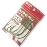 Крючки офсетные Vanfook Worm-55G #1/0 Mat Green 7шт/уп