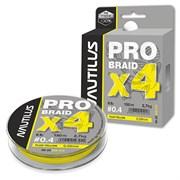 Леска Плетёная Nautilus Pro Braid X4 Fluo Yellow 0.09 2.7кг 6lb 150м