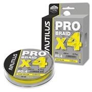 Леска Плетёная Nautilus Pro Braid X4 Fluo Yellow 0.23 12.3кг 27lb 150м
